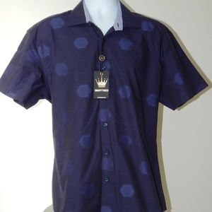 BERTIGO CROWN HEXAGON NAVY JACQUARD SHIRT XL